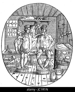 Situation in a Bathing house in the 16. century, Cupping therapy, Familie wird vom Bader geschroepft, Holzschnitt - Stock Photo