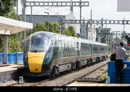 Slough, UK. 13th June, 2017. The prototype Great Western Railway intercity hybrid train on which the Queen and Duke - Stock Photo