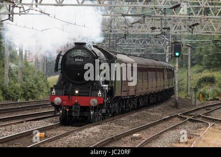 Rugeley, Staffordshire, UK. 13th Jun, 2017. Preserved British Rail A3 Pacific steam locomotive 'Flying Scotsman' - Stock Photo