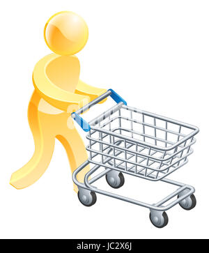 Shopping trolley gold man, a gold mascot person pushing a supermarket shopping cart - Stock Photo