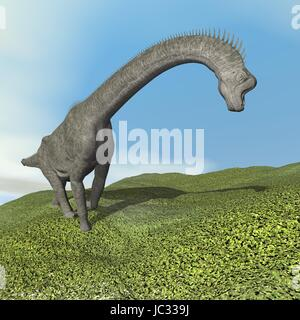 Brachiosaurus dinosaur walking on the grass by day - 3D render - Stock Photo