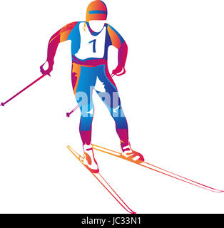Vector illustration of a colorful skier in action - Stock Photo