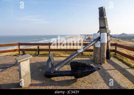 The East Frisian North Sea island Norderney, Winter, historical stock anchor on the Georgshšhe, dunes, beach, - Stock Photo