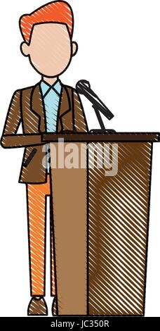 man in suit, businessman or politician stands at tribune with microphones and making a speech - Stock Photo