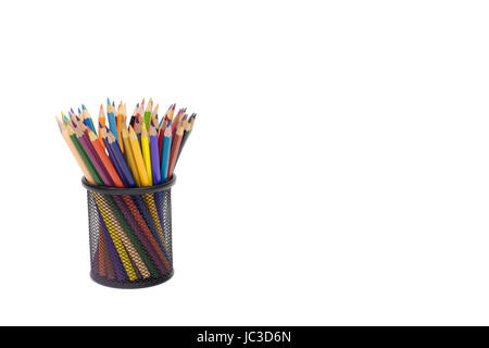 Color pencils in metal basket isolated white background horizontal shot - Stock Photo
