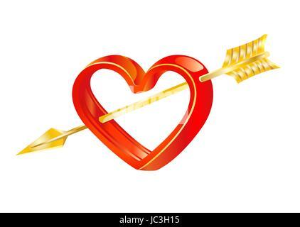 Golden arrow of love in heart vector image - Stock Photo