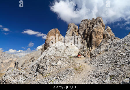 Costabella rock with war building inside, Trentino, Italy - Stock Photo