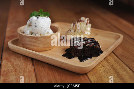 Vanilla Ice Cream with Mint in bowl Homemade Organic product - Stock Photo