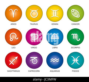 Astrological signs of the zodiac in rainbow colored gradients. Twelve circles with star sign symbols in bright colors - Stock Photo