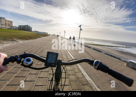 North Sea island, Norderney, East Frisia, Germany, Wattenmeer National Park, cyclist, bicycle tour, bike path, e - Stock Photo