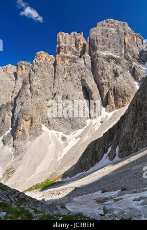 Piz da Lech peak in Sella mount from Mezdi valley, Italian Dolomites - Stock Photo