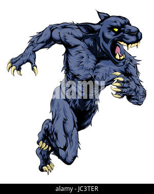 A panther man character or sports mascot charging, sprinting or running - Stock Photo