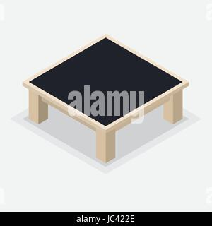 Isolated wooden Coffee Table. Square table and short legs, Isometric style on white background - Vector illustration. - Stock Photo