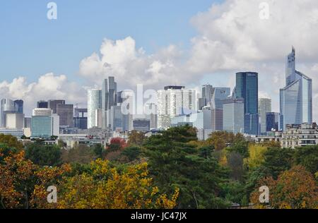 Panoramic view of the la Defense business district skyline outside of Paris seen from the Louis Vuitton Foundation building Stock Photo