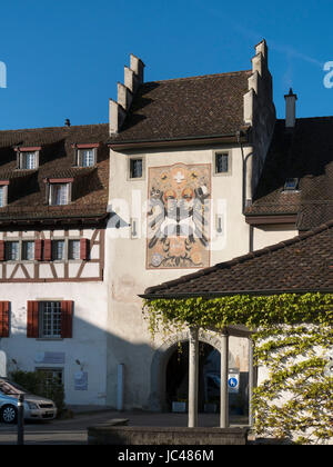Obertor in Stein am Rhein, Canton Schaffhausen, Switzerland - Stock Photo
