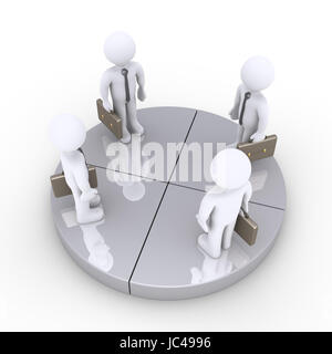 Four 3d businessmen are standing on equal grey pie chart slices - Stock Photo