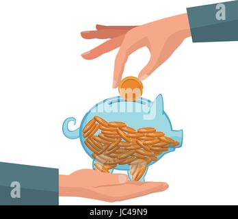 hand with piggy putting coin money
