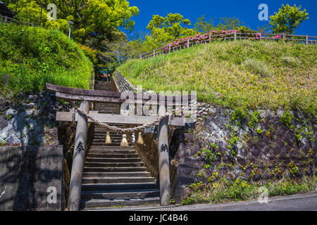 A small hilltop religious shrine in Miyazaki City, Japan. - Stock Photo