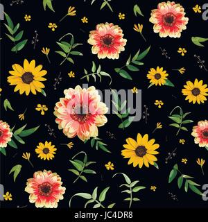 Vintage floral orange Dahlia flower Yellow Sunflower tiny beautiful bright contrast flowers green leaves seamless - Stock Photo