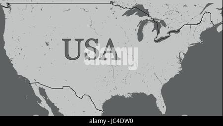 High detailed vector map of United States of America. American similar accurate anniversary country map on gray - Stock Photo