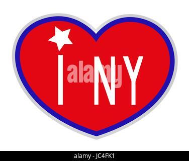 Red heart American symbol icon I love New York - Stock Photo