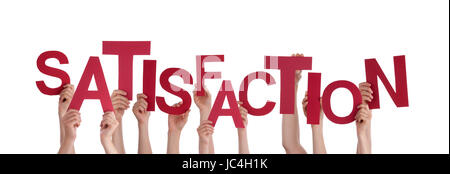 Many Hands Holding the Red Word Satisfaction, Isolated - Stock Photo