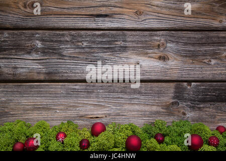 Wooden Christmas Frame With Green Moss And Red Balls On The