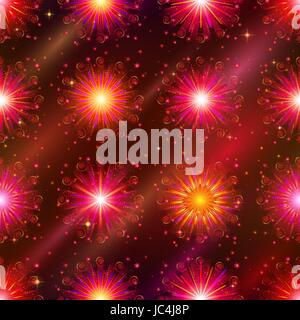 Firework background seamless of red, orange and pink colors. Pattern for holiday design. Eps10, contains transparencies. - Stock Photo