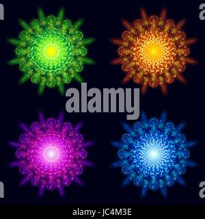 Set of Various Bright Colorful Celebratory Fireworks, Color Elements for Holiday Web Design on Dark Background. - Stock Photo
