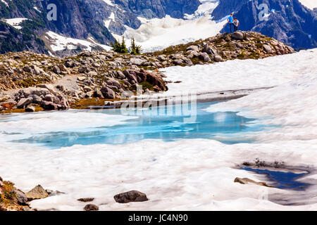 Mount Shuksan Blue Pool Hikers Artist Point Mount Baker Highway Washington Snow Mountain Grass Trees - Stock Photo
