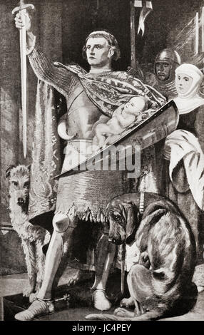 Edward I of England presenting his newborn son as the future First Prince of Wales to the Welsh nation in 1284. - Stock Photo