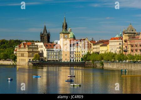 Vltava River and Smetana Museum, Prague, Bohemia, Czech Republic - Stock Photo