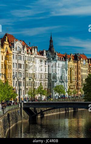 Art nouveau buildings along Vltava River, Prague, Bohemia, Czech Republic - Stock Photo