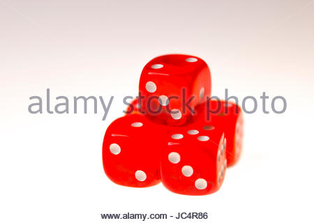 Five red dice isolated on a white background - Stock Photo