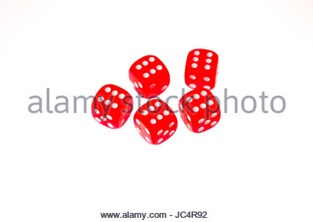 Five red dice each showing a six on the upper face, isolated against a white background - Stock Photo