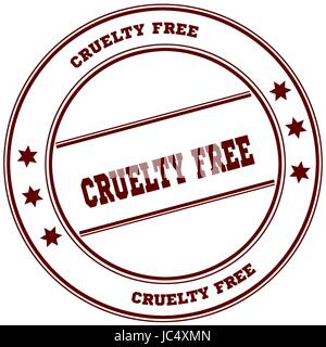 CRUELTY FREE simple red stamp. Illustration graphic concept - Stock Photo