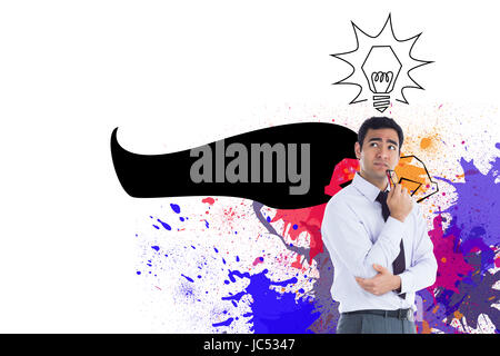 Composite image of thinking businessman holding glasses - Stock Photo