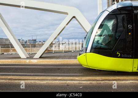 Tramway on the Recouvrance bridge, Brest , France. Brest is a city in the Finistère département in Brittany in - Stock Photo