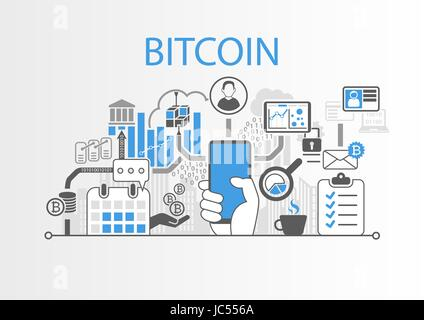 Bitcoin vector background illustration with hand holding smartphone and icons - Stock Photo