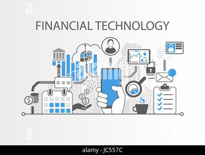 Financial Technology / Fin-Tech concept vector background with hand holding smartphone - Stock Photo