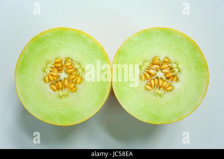 Galia melon - whole fruit and cut