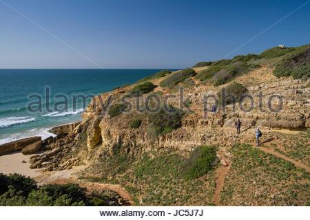 Hiking path along the rugged Algarve coastline, Southwest ...