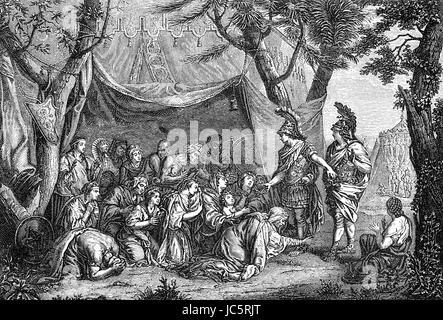 Alexander the Great and Darius' wife with Persian concubines after the Battle of Issus - Stock Photo