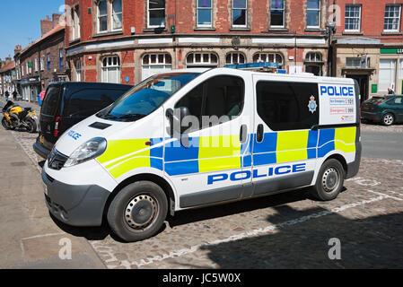 Police van parked outside police station Thirsk North Yorkshire England UK United Kingdom GB Great Britain - Stock Photo