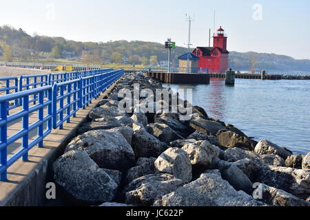 The Big Red - Lighthouse In Holland Stock Photo