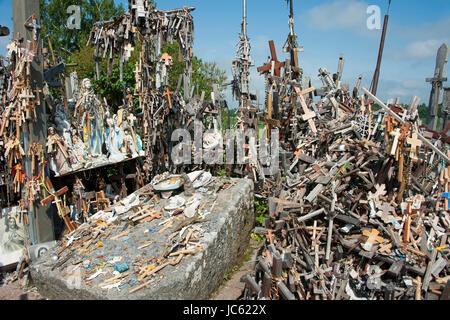 Hill of crosses, Lithuania, Baltic states, Europe / site of pilgrimage, near Siauliai, Kryziu kalnas. of the crosses, - Stock Photo