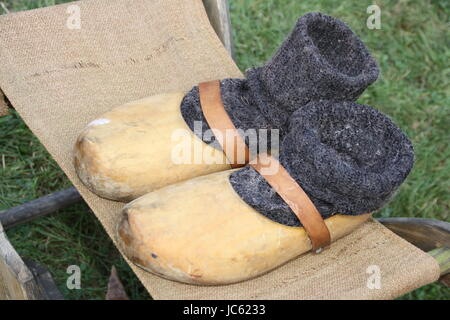holzschuh with stocking - Stock Photo