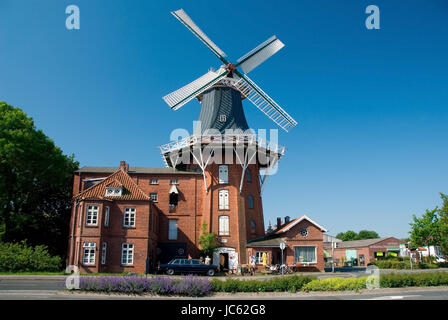 Windmill in the north, East Friesland, Lower Saxony, the Federal Republic of Germany, Windmuehle in Norden, Ostfriesland, - Stock Photo