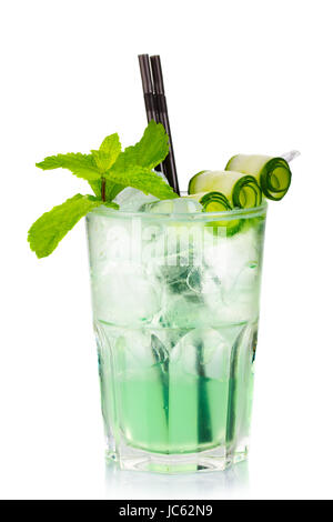 Green alcohol cocktail with fresh mint and cucumber isolated on white background - Stock Photo