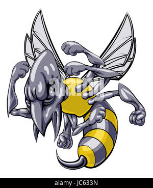 an illustration of a cartoon wasp sports team mascot with Bee Drawing Bee SVG